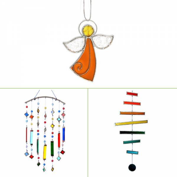 Windspiel aus Glas, verschiedene Farben, verschiedene Designs, Mobile, Fensterschmuck