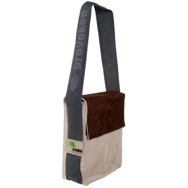 Messenger Bag CITY PROVOKED aus Kuhfell: braun & LKW-Plane: beige, 31x25x10