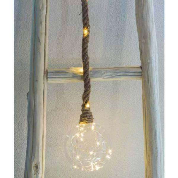 Leuchte an Glaskugel mit Hanfseil 20 LED-Lichter warmweiß Batterie