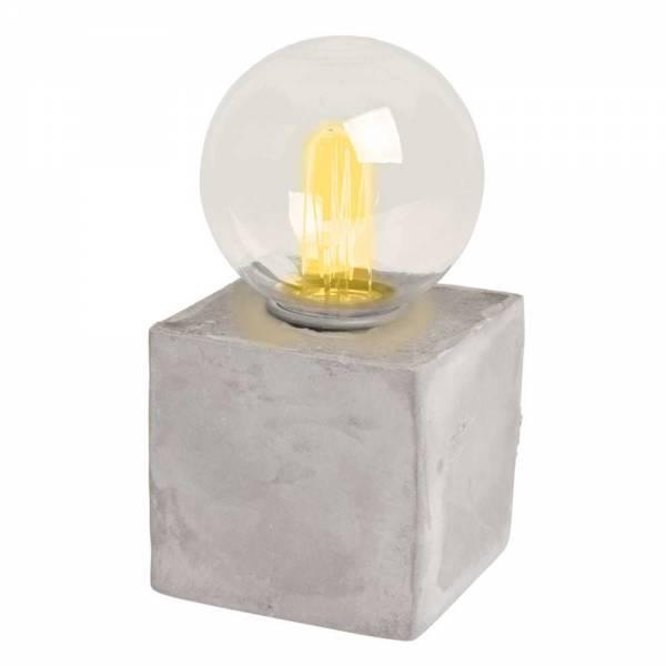 Beton-Würfel mit LED-Retro-Birne, batteriebetrieben, Timer, 16 cm hoch