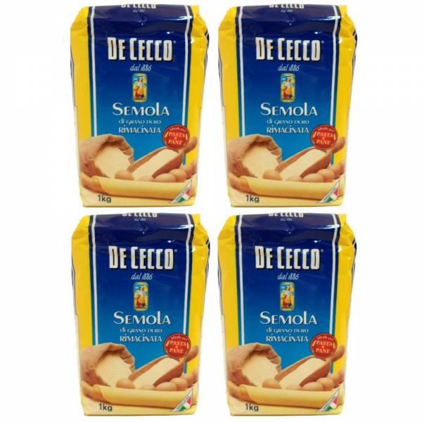 4x 1kg - De Cecco - Hartweizengrieß - Semola di grano duro rimacinata