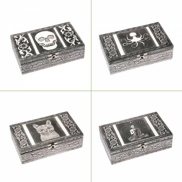Schmuckbox aus Aluminium, verschiedene Designs, 20 x 12 x 6 cm