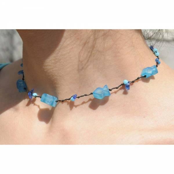 Dehnbare Halskette BLAUE FISCHE