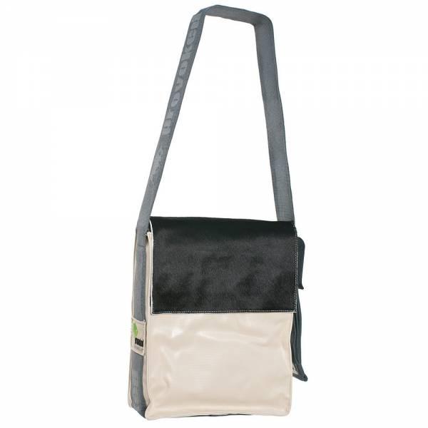 Messenger Bag CITY PROVOKED aus Kuhfell: schwarz & LKW-Plane: beige, 31x25x