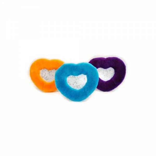 Bilderrahmen HEART plüschig sort. in orange, violett und hellblau