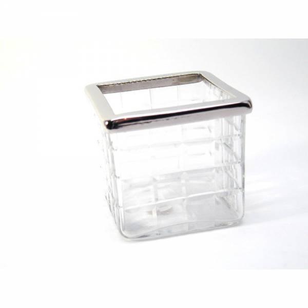 Windlicht aus Glas mit Karo Muster 7 x 7 x 6,5cm