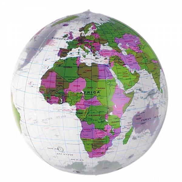 Wasserball EARTH, aufblasbar, Durchmesser 45cm klar