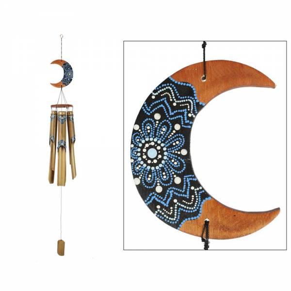 Windspiel BAMBUS, 130 cm lang, handbemaltes Muster in blau, weiss und schwarz, Mobile für Terasse &