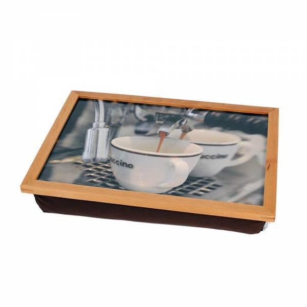 Tablettkissen mit Holzrahmen Cappuccino
