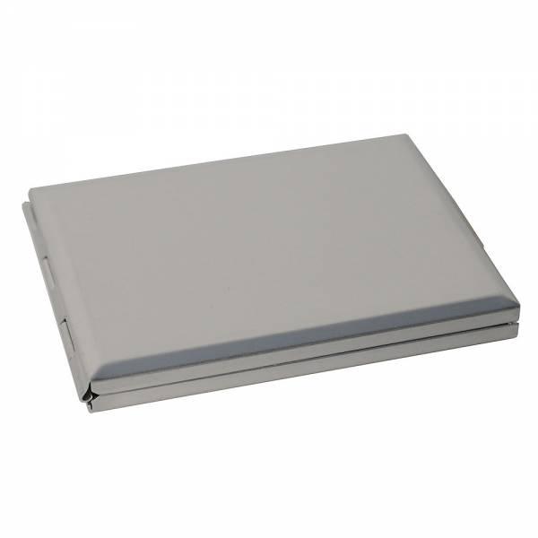 Handlicher Taschenspiegel mit Telefonregister, matt silbern, 7,8 x 5,8 x 0,9 cm