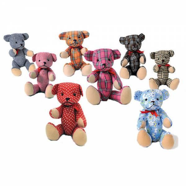 Teddybär, Popart Teddy, Stofftier aus toll gemusterten Stoffen: Glencheck, Gingham, Hahnentritt, Mil