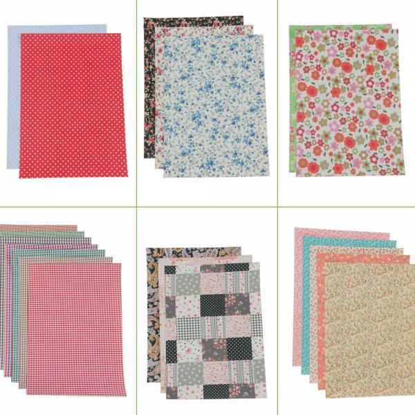 Selbstklebender Stoffbogen, verschiedene Farben, Stoffbogen, DIN A4, Stoff, Stoffabschnitte, Breite: