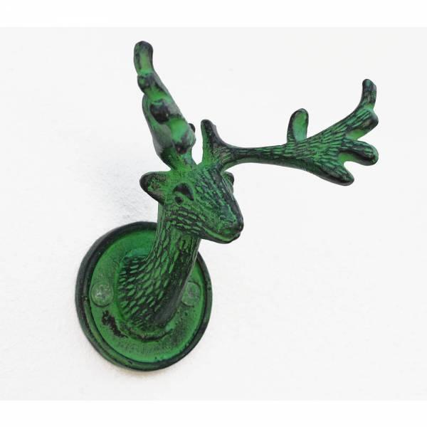 Garderobenhaken Hirsch vintage grün