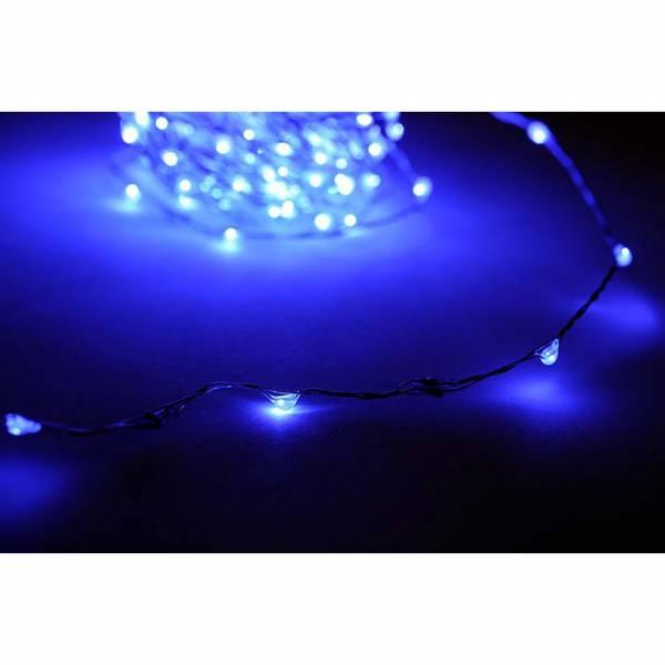LED Lichterkette 100 LED Lämpchen, Farbe: BLAU, Länge: 10m, mit Netzteil 220V