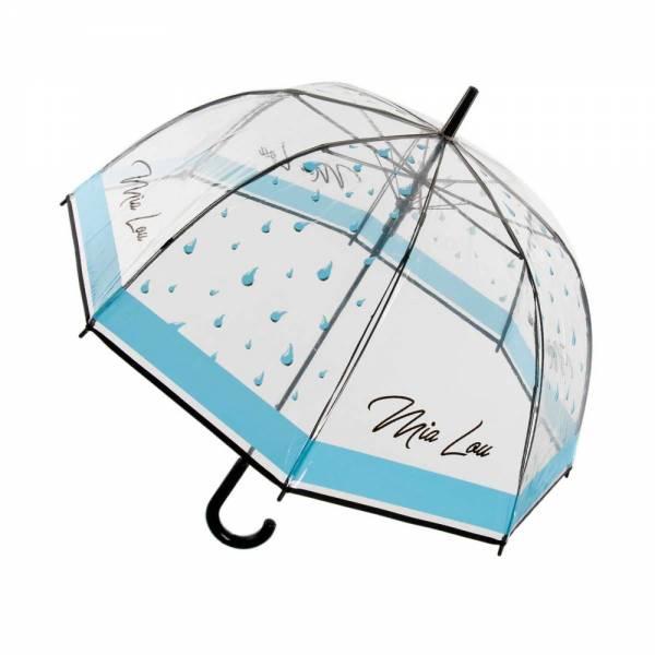 Regenschirm Transparent, 78cm Ø Spannweite mit schwarzem C-Griff, Tropfenmuster