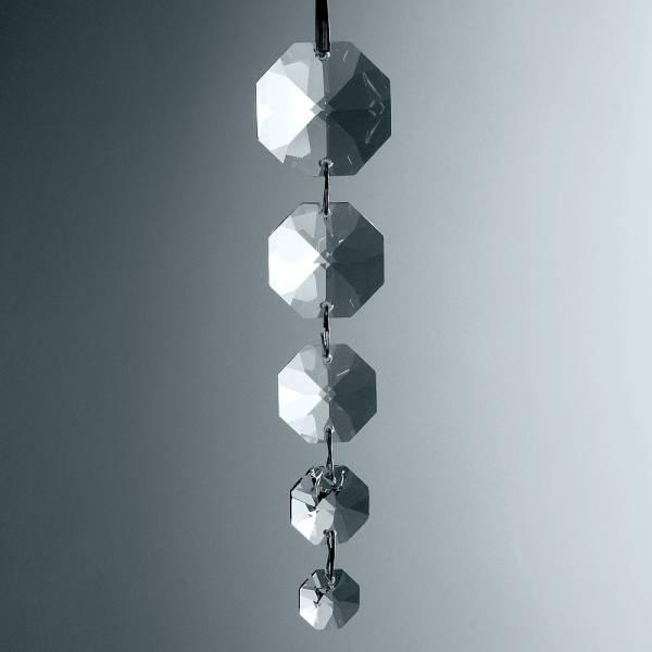 Kristallkette Oktagons 5 Stück gekettet, 30,26,22,18,14 mm