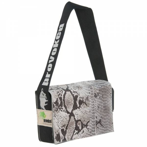 Messenger Bag MINI PROVOKED aus Leder: Python optik & LKW-Plane, 26x21x10 c