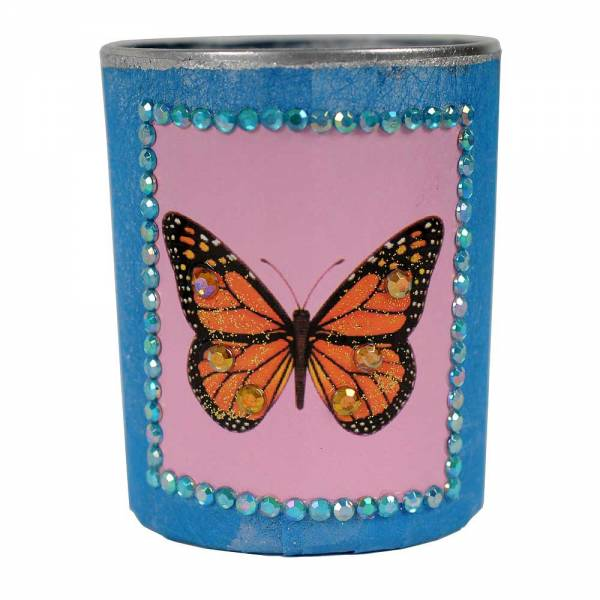 Windlichter m Straß, BUTTERFLY Design: Schmetterling