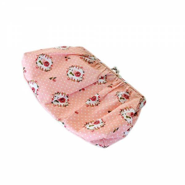 Handtäschchen gepunktet/geblümt rosa