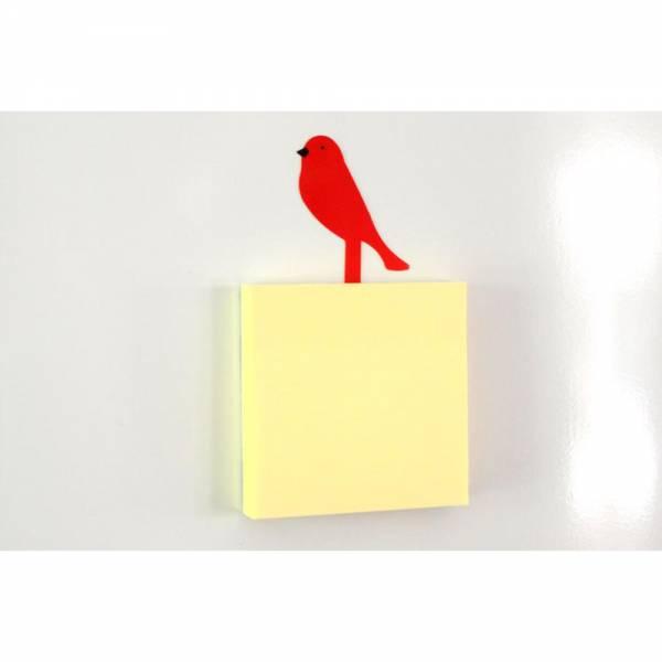 Notizblock mit selbstklebenden 100 Blättern und Vogel Farbe: rot