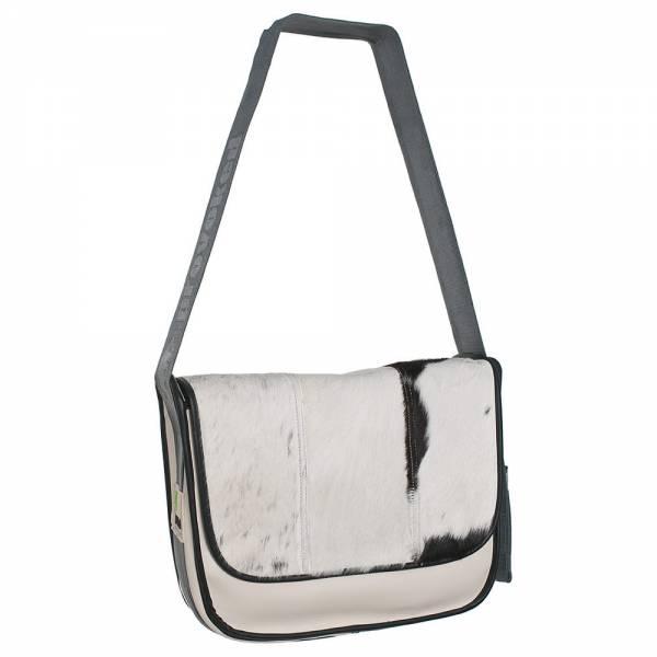 Messenger Bag BIG PROVOKED 38x30 Kuhfell schwarz, Leder beige