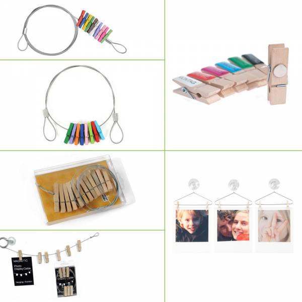Fotoleine aus Stahl mit Holz-Wäscheklammern / Fotokleiderbügel / Memoholzklammern und Zubehör