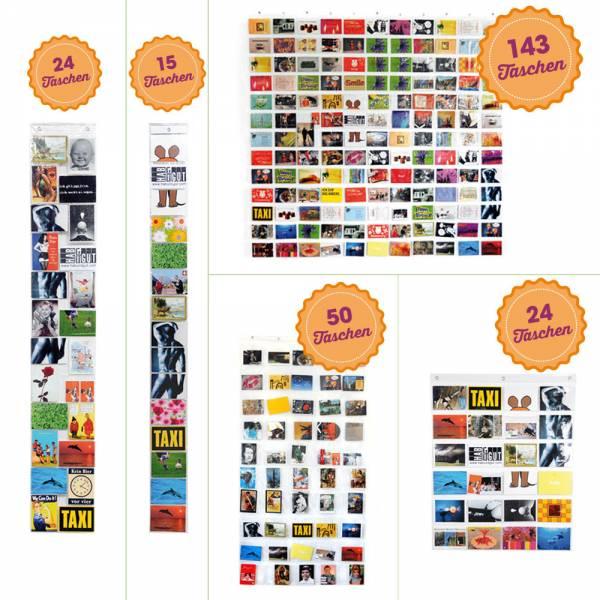 Transparenter Taschenvorhang für eine Bildergalerie, Fotogalerie, Postkartengalerie, verschiedene Au