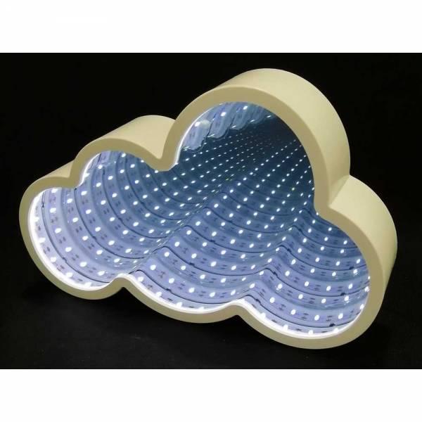 Weiße Wolke mit LED-Lichtern und Endlos-Spiegel
