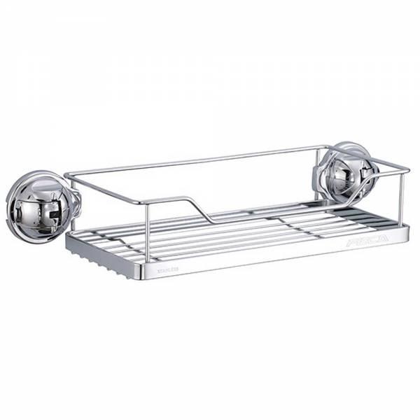 Badablage verchromt, rechteckiges Wandregal für Badezimmer, Dusche und Küche aus Stahl, 28 x 12 x 7,