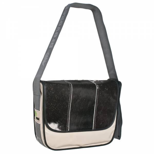 Messenger Bag BIG PROVOKED mit Kuhfell: schwarz, LKW-Plane: beige 35x30 cm