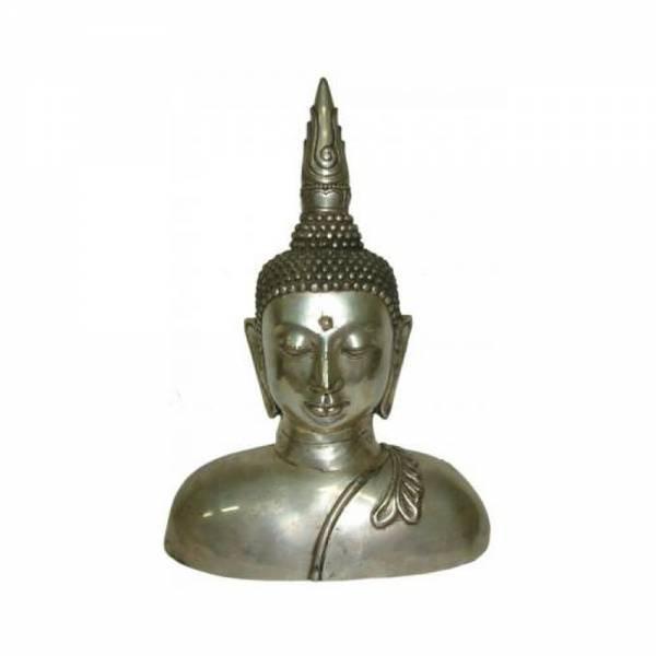 Buddha FIGUR, Metal silberfarbig, Höhe 34cm