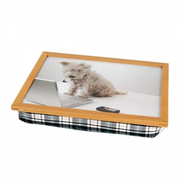 Tablettkissen mit Holzrahmen Hund vor Laptop