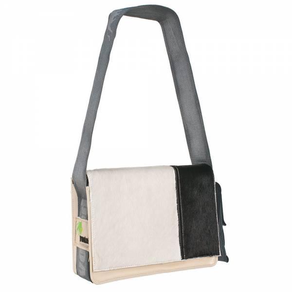 Messenger Bag MINI PROVOKED aus Kuhfell: schwarz & LKW-Plane: beige, 26x21x