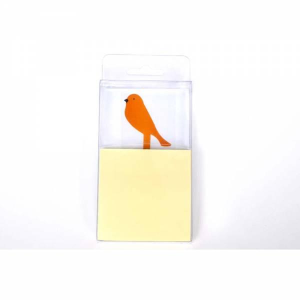 Notizblock mit selbstklebenden 100 Blättern und Vogel Farbe: orange