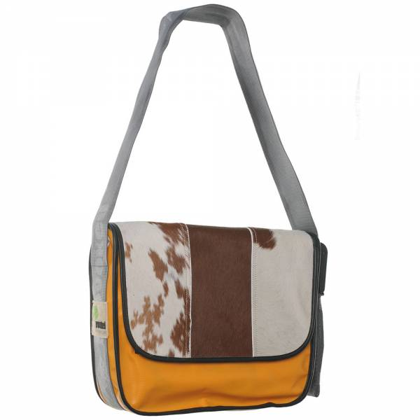 Messenger Bag BIG PROVOKED mit Kuhfell: braun LKW-Plane: orange, 38x30 cm