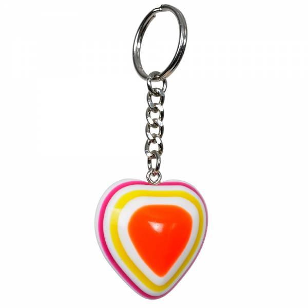 Schlüsselanhänger mit farbigem Herz, 37 x 37 x 20 mm